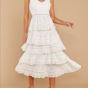Red dress boutique white lace tiered dress